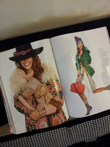 My choice of festive outfit on the left, from Prada. Glossy mag.