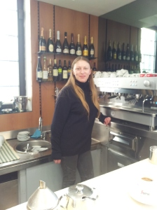 Natalia waiting to serve you a very nice Espresso at Al Bar Fiano. Photo J Finnigan