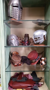 Helmets and leather articles for sale in Alessandro's shop. Foto P Finnigan